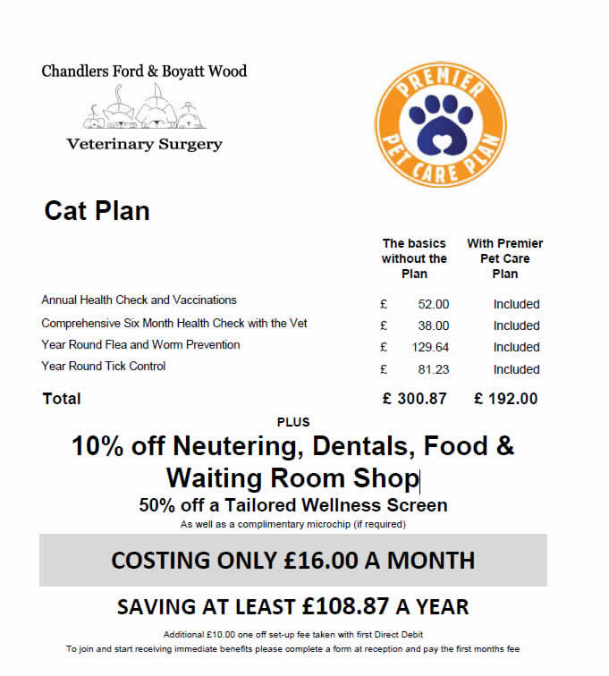 premier pet health plan chandlers ford vets hampshire